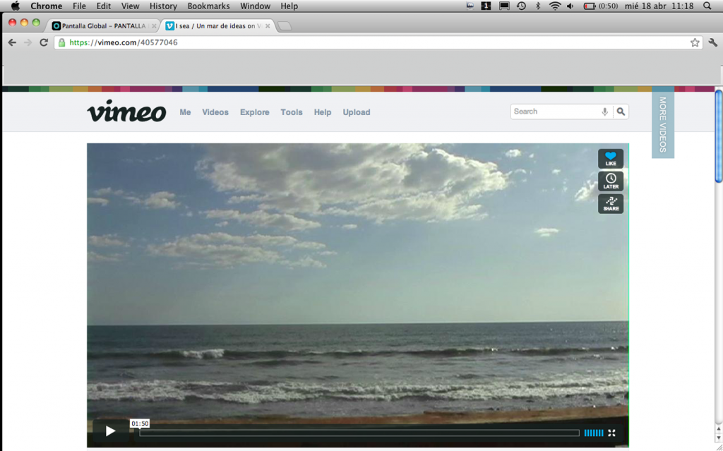 pantalla global en vimeo